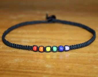 Rainbow Choker Rainbow Necklace Rainbow Jewelry Black Choker Necklace Hemp Choker Black Necklace Hemp Necklace Hemp Jewelry Custom Choker