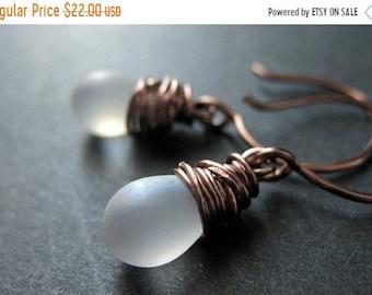 MOTHERS DAY SALE Copper Earrings - Frost Teardrop Earrings in Copper, Dangle Earrings, Wire Wrapped. Handmade Jewelry.