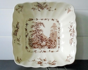 Masons Watteau England Large Square Serving Dish Brown