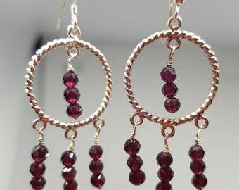 Garnet and sterling silver chandelier earrings