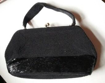 Black beaded vintage wedding purse