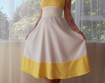 "1950s Pin up White Sundress  ""Beth""  with Yellow Gingham and Lace Trim  - custom made to fit"
