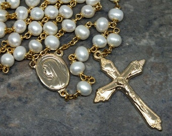 Freshwater Pearl Rosary in Ivory and Gold, 5 Decade Rosary, Catholic Rosary, Prayer Beads, Natural Rosary, Gemstone Rosary