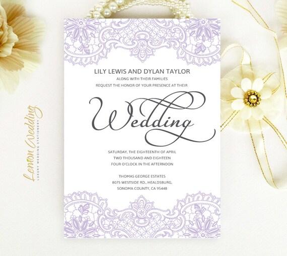 Elegant Purple Wedding Invitations: Lace Wedding Invitations Elegant Purple Wedding Invitations