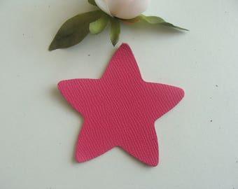 leather star applique pink color 8 cm diameter