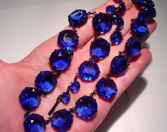 Vintage Sapphire Cobalt Blue PASTE RIVIERE Bezel NECKLACE