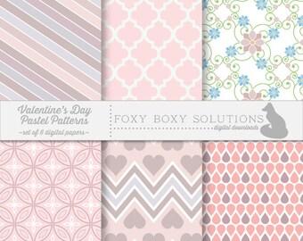 Valentine's Day Pastel Digital Download Paper Pack - Instant Download Download Digital Paper - Printable Craft Supply for Scrapbooking