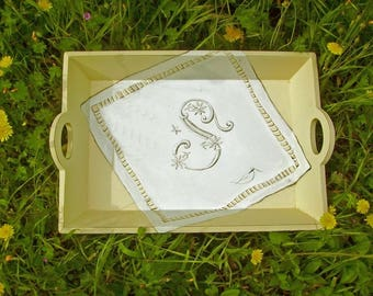 """Tray """"S"""" Monogram on doily painting Trompe L'Oeil personalised gift ideal trendy French shabby chic Gustavian style"""