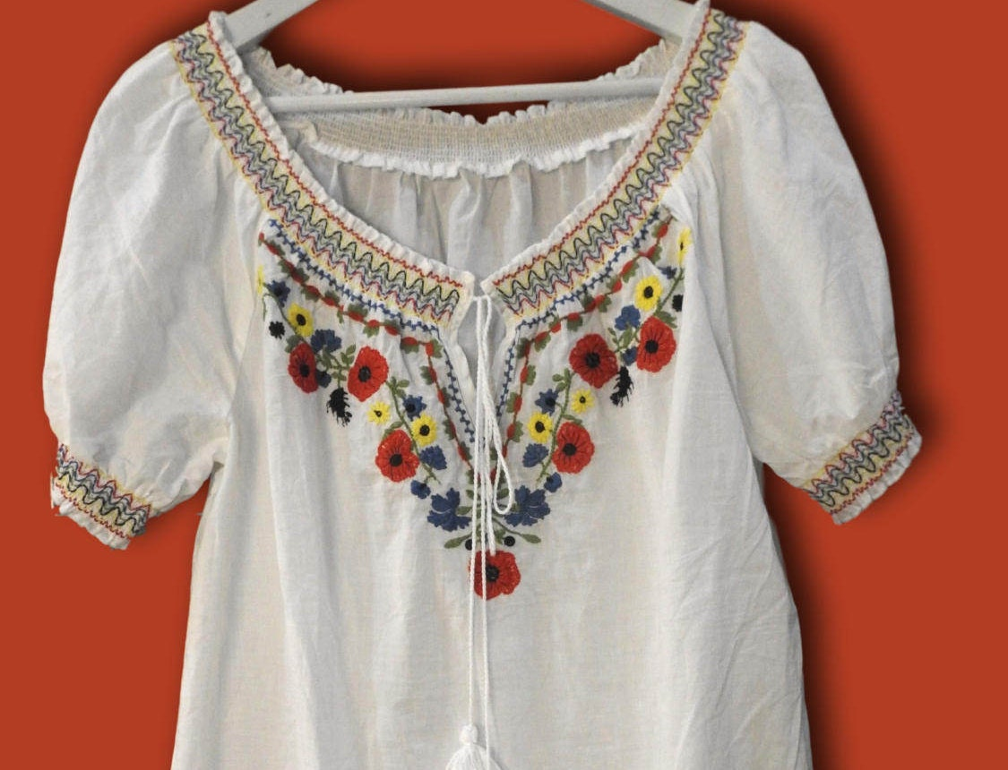 ... Embroidered Mexican Peasant Blouse Plus Size Kamos T Shirt