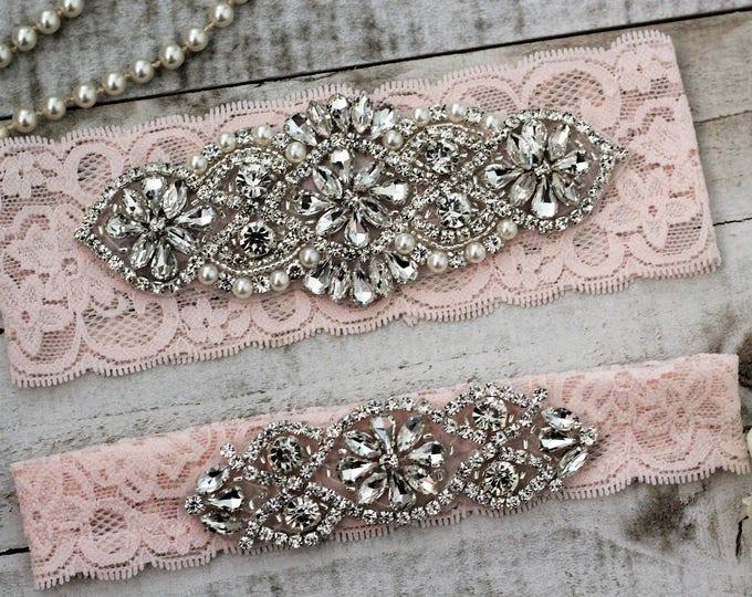 Blush Pink Wedding Garter Set NO SLIP grip vintage rhinestones, pearl and rhinestone garter set B01S-B*02S