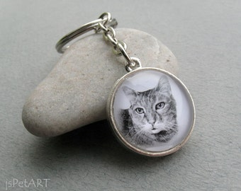 Cat Key Ring, Pet Portrait Keychain, Cat Keychain, Cat Ownet Gift, Pet Memorial Gift, Cat Lover Gift, Cat Portrait Gift, Bengal Gift, Tabby