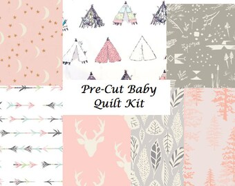 Baby Quilt Kit, Cotton Fabric, Girl, Woodland, Infant Bedding, Blanket, Pink, White, Gray, DIY Quilt, Bucks, Arrows, Antler, Stag