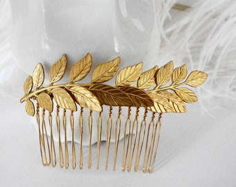 Bridal Hair Comb Leaf Branch Fern Gold Retro Shabby chic Old Hollywood wedding bridemaids Girly Vintage style Estate Style English Charm