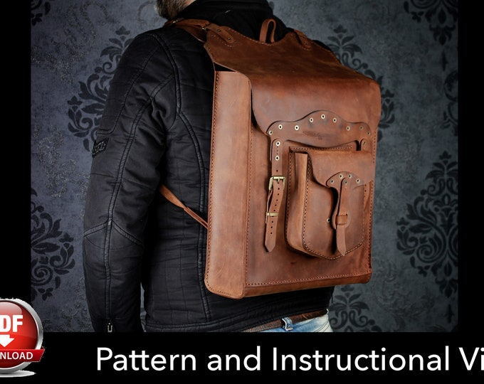 Backpack Pattern - Leather DIY - Pdf Download - Leather Pattern - Rucksack Pattern - Bag Pattern