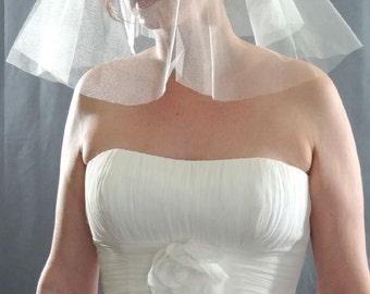 Wedding Veil, English Silk Tulle Veil, Silk Bridal Veil, Ivory Veil, Fingertip Veil, Silk Long Veil