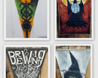 Your Choice of ONE Vintage Style Halloween Banner Hand Painted For You