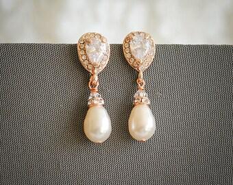Bridal Earrings, Swarovski Pearl Wedding Earrings, Rose Gold Pearl Drop Dangle Earrings, Zirconia Stud Earrings, Wedding Jewelry, PIPPA
