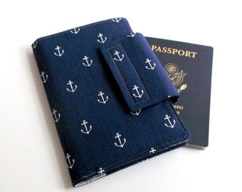 Passport Wallet Travel wallet Smart Phone Wallet Navy Nautical Anchors Away with Gray dot