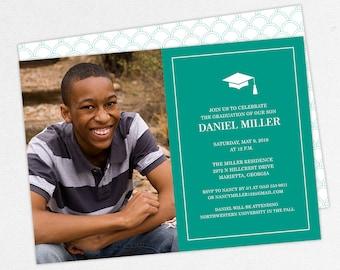 Graduation Invitation, Photo Graduation Invitation, Graduation Announcement, Printable, PDF, DIY, Printed Invites, Modern, Boy, Dan, Teal