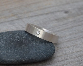 Wedding Band With A Diamond Or London Blue Topaz, Personalized Wedding Band, Made to Order