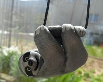 Handmade Cute Sloth- Car Mirror Sloth Charm- Car Mirror Accessory- Dangle Travel Sloth- Ornament Figurine