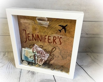 Personalised Travel Fund Money Box - Adventure Frame Gift