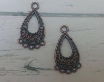 Antique Copper Earring Connectors - Copper Earring Dangles - Diy Jewelry Supply - Copper Oval Hoop Earrings -15x28mm - 2 Pieces