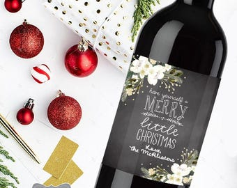 Christmas Wine label, Christmas Wine Labels, Christmas Labels, Christmas Tags, Custom Wine Label, Christmas Wine Gift, Personalized Wine