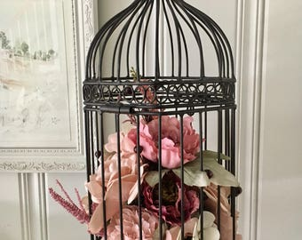 Flowers in a birdcage - floral Birthday gift for her - floral birdcage arrangement - floral cottage decor - birdcage decor - silk flowers