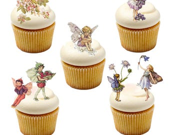 16 Stand Up Flower Fairy Cake toppers made from Fully Edible Premium Wafer Paper - Cake Topper Decoration