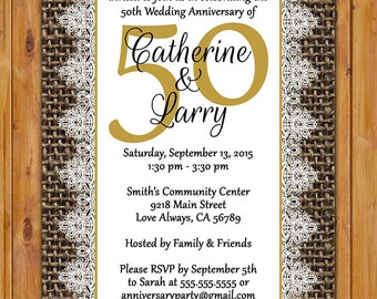 50th Golden Wedding Anniversary Invite Digital Burlap and Lace Gold 50 Years Invitation Printable 5x7 Digital JPG (516)