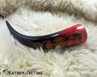 3oz Coral Moon Phase Drinking Horn with Leather Holster
