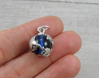 Earth Charm, Globe Charm, Earth Globe Pendant, Earth Day Charm, World Traveler Charm, Silver and Blue Globe Charm for Necklace or Bracelet