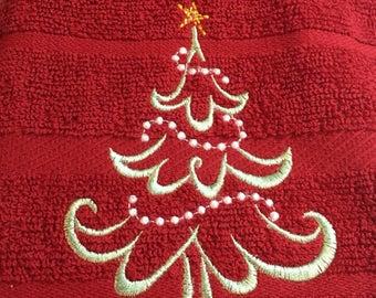 Kitchen Towel, Christmas Towel, Merry Christmas, Embroidered Christmas Towel, Holiday Gift, Christmas Gift, Christmas Kitchen Towel