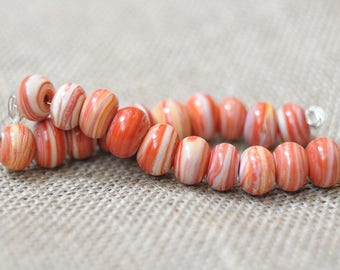 Coral Ivory small beads Rondelle Spacers Handmade Glass Lampwork Bead - 10 Beads Set