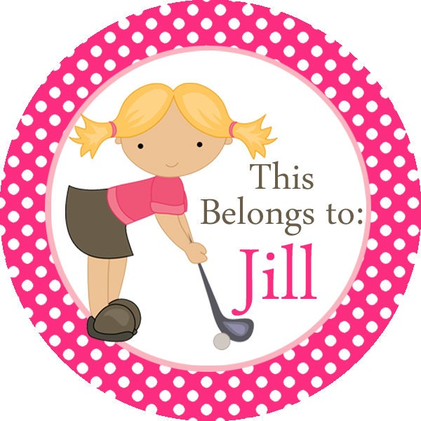 Name label stickers pink polka dots girl golfer personalized name tag stickers 2 inch round labels perfect for back to school labels from