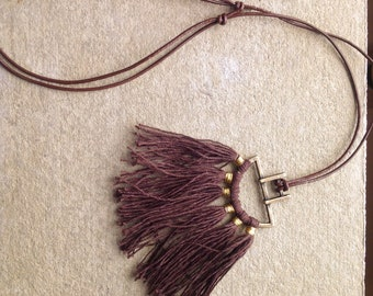 Brown Tassel Necklace, Leather Necklace, Adjustable Necklace, Pendant Necklace,  Boho Style