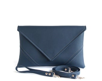 Letter clutch Gift for her Navy blue clutch purse Navy clutch bag Vegan leather clutch Bridesmaid clutch Blue vegan bag Evening bag Envelope