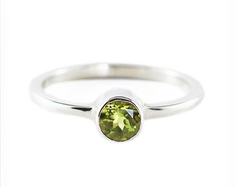 Peridot Ring Sterling Silver Engagement Rings Personalized Gemstone Color