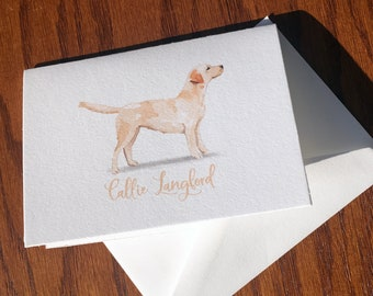 Yellow Lab Personalized Stationery, great gift for dog lovers, Labrador Retriever stationery set 100% Cotton, custom gifts for dog lovers