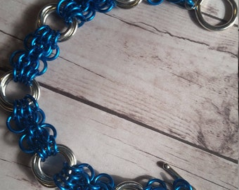 Butterfly Chainmaille Bracelet - blue silver - anodized aluminum