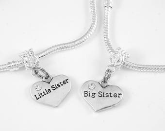 2 sister bracelets set little sister Big sister gift for big sister and little sister sister jewelry