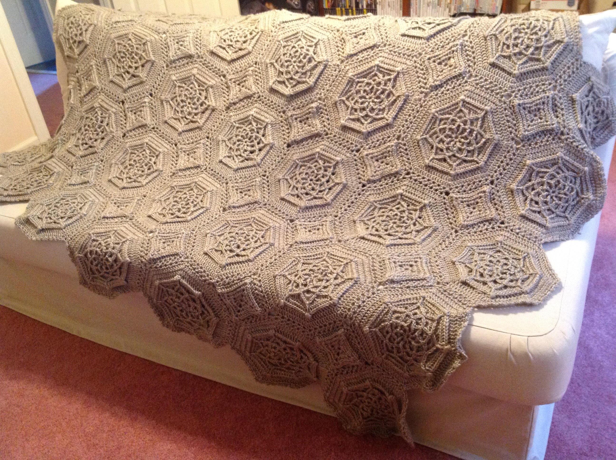 Matelasse Crochet Afghan / intricate pattern blanket