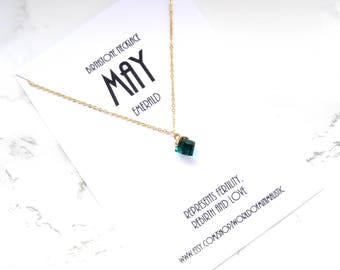 MAY birthstone necklace, birthstone jewelry, dainty minimalist necklace, square necklace, gold simple necklace, delicate jewelry