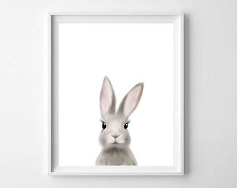 Woodland Rabbit Print, Bunny Print, Printable Art, Nursery Art, Animal Art, Nursery Wall Art, Bunny Wall Art, Baby Animals, Kids Room Decor