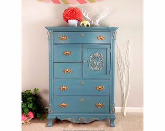 Soft turquoise and gold Tallboy Dresser, vintage Stanley, solid wood, carved details, floral stencils, hand painted, refinished, farmhouse