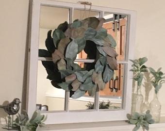 Farmhouse Decor, Window frame with mirror, Window Frame, Window with mirror