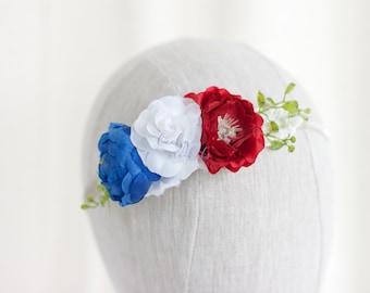 Patriotic Headband, 4th of July Headband, American Headband, Fourth of July, Patriotic Flower Headband, 4th July Flower Headband, 4th July