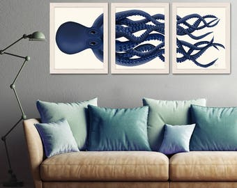 Giant Octopus Print Blue Octopus Triptych Set of 3 - octopus poster Giclee poster nautical decor Octopus wall art home decor