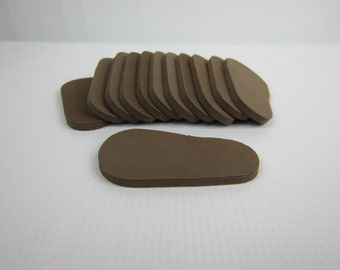 "5mm Doll Soles, 12-Pack Doll Soles, 5mm Brown Foam Doll shoe Soles, 18"" die cut doll soles, doll supplies, shoe supplies, free shipping"